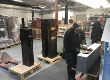 Dynaudio Employees In The Cabinet Factory During The Factory Tour.