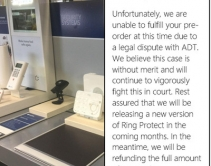 Responding to ADT Lawsuit, Ring Refunds 'Protect' Pre-orders, Promises New Model