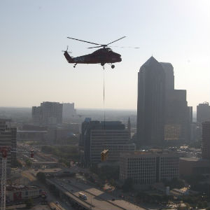 "Helicopter Airlifts 85"" Plasma TV to High-Tech Apartment"